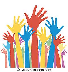 elección, general, votación, hands.