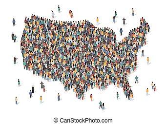 elección, gente, grupo, formation., concept., multicultural, ilustración, mapa, muchos, nosotros, hecho, gente, multitud, estados unidos de américa, vector, país, diversidad, población, forma., inmigración, isométrico, estancia, grande