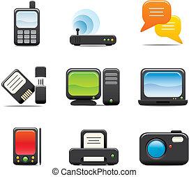 electrónico, conjunto, icono de la computadora, uno