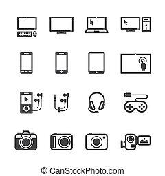 electrónico, dispositivos, iconos