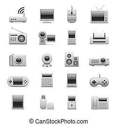 electrónico, plata, iconos