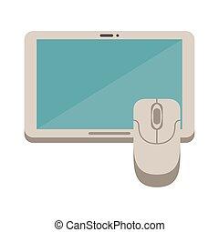 electrónico, tableta, dispositivo, ratón