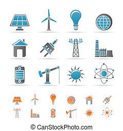 electricidad, energía, potencia, iconos