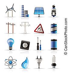 Electricidad, energía y iconos de energía
