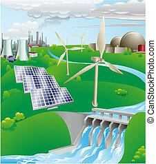 electricidad, generación, potencia, ilustración