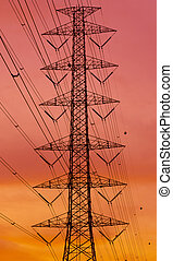 electricidad, ocaso, ciudad, contra, silhouetted, pilón