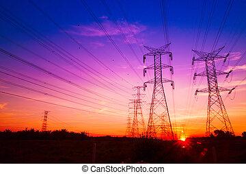 electricidad, ocaso, pilones