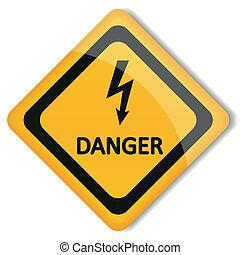 electricidad, vector, ilustración, peligro, etiqueta