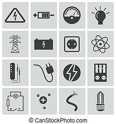 electricidad, vector, negro, conjunto, iconos