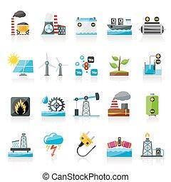 Electricidad y fuentes de energía iconos