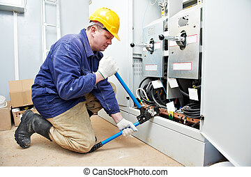 electricista, cable, herramienta, trabajo, cableado, rizar