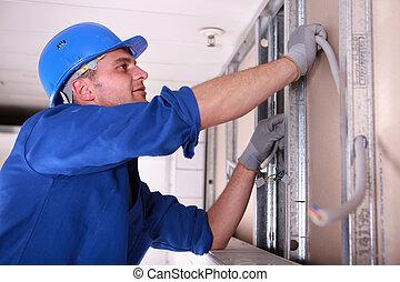 electricista, cableado, instalación