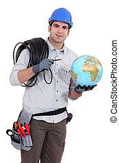 electricista, cableado, mundo