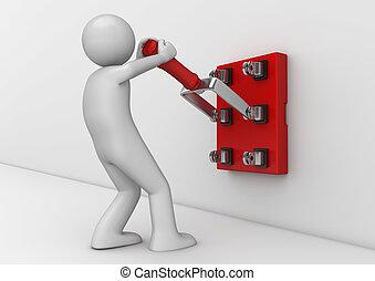 electricista, empresa / negocio, -, colección, interruptor, cuchillo