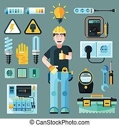 electricista, iconos, conjunto