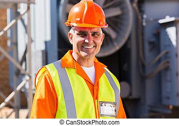 Electricista masculino de mediana edad