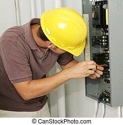 electricista, panel, y, oleada