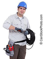 electricista, preparando, cable