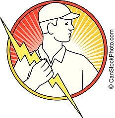 Electricista que sostiene rayos monolina del círculo del rayo