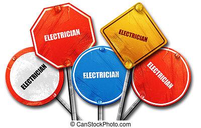 Electricista, representación 3D, dura colección de letreros de la calle