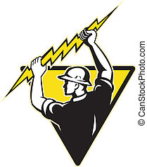 electricista, tenencia, potencia, iluminación, delantero, perno