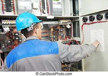 Electricista trabajando en la caja de cables eléctricos