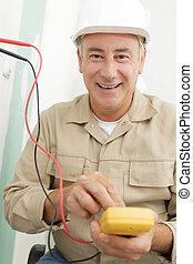 electricista, trabajo, voltaje, técnico, medidas