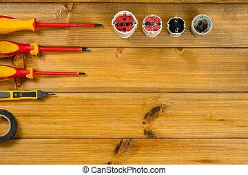 electricista, vista., colocar, space., herramienta, copia, cima, plano