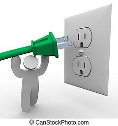 Electro de energía de la persona a la salida eléctrica