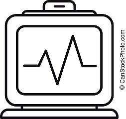 electrocardiograma, contorno, estilo, hospital, icono