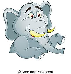 Elefante con una señal en blanco