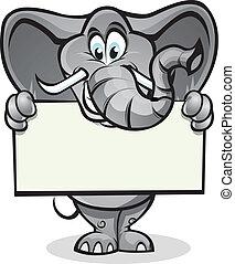 elefante, tenencia, señal