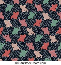 elefantes, textured, fondo oscuro, patrón, seamless, colorido, vector, bebé