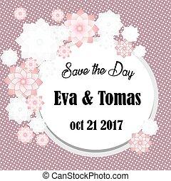 Elegante ahorra la tarjeta de fecha con marco original en el fondo retro. Invitación de boda antigua o plantilla de anuncio. Ilustración de vectores
