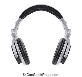 elegante, auriculares, dj, plata