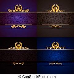 Elegante bandera de marco dorado