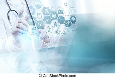 elegante, doctor, trabajando, operar, médico, habitación, concepto