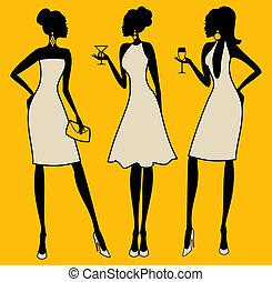 elegante, fiesta, mujeres