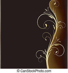 Elegante fondo oscuro con elementos florales dorados