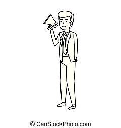 Elegante hombre de negocios con megáfono