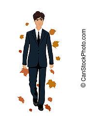 Elegante hombre de otoño aislado