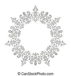 Elegante marco floral de un círculo antiguo de lujo
