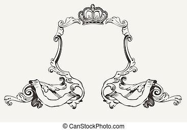 Elegante marco real con corona