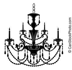 elegante, ornamentos, barroco, pared, lámpara