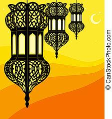 elegante, ramadan, linterna
