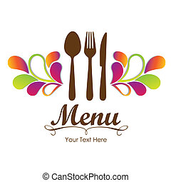 elegante, restaurante, tarjeta, menú