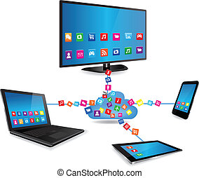 elegante, televisión, tableta, smartphone, apps, computador portatil