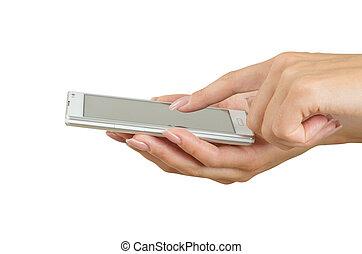 elegante, touchscreen, teléfono