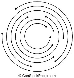 element., diseño, aleatorio, dots., circular, círculos, espiral, concéntrico