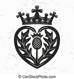element., forma, diseño, corona, cardo, vector, día, ilustración, valentine, símbolo, logotipo, broche, luckenbooth, concept., fondo., o, corazón, vendimia, escocés, grunge, boda